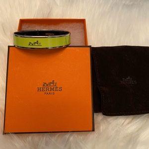 Neon green and silver Hermès enamel bangle